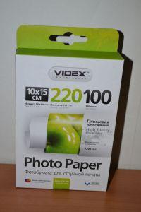 Ф/бумага Videx 220g A6 100л глянец /1/