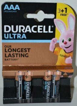 Батарейка Duracell Ultra LR-03 МХ2400 блистер 1х4шт /4/40/120шт.