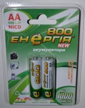 Акк Энергия НR-6 800mAh Ni-Cd блистер 1х2шт /2/20/