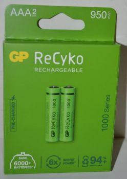 Аккумулятор GP Recyko НR-03 (ААА) 1000mAh Ni-MH блистер 1х2шт /2/20шт.