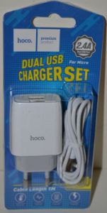 Зарядное устройство Hoco C73A на 2USB 2,4A + кабель microUSB white