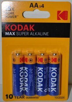 Батарейка KODAK MAX LR-6 блистер 1x4шт /4/80/
