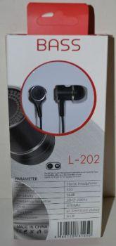 Вакуумные наушники с микрофоном L-202 black