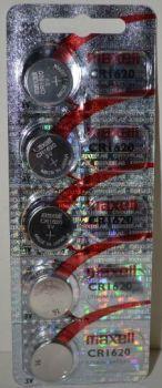 Батарейка Maxell СR-1620 Lithium 1x5шт /1/5/