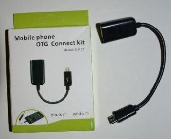 Кабель OTG S-K07 переходник microUSB на USB