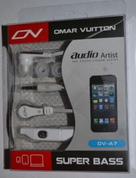 Наушники+микрофон OMAR VUITTON OV-A7 white /1/