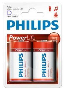 Бат Philips PowerLife LR-20 блистер 1х2шт /2/24/