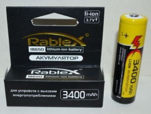Аккумулятор Rablex 18650 3400mAh 3,7V Li-ion блистер 1х1шт