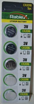 Батарейка Rablex CR-2016 Lithium 1x5шт /1/5/100шт.