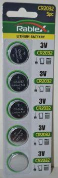 Батарейка Rablex CR-2032 Lithium 1х5шт /5/100шт.