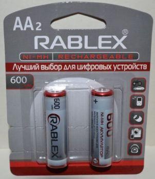 Аккумуляторы Rablex HR-6 600mAh Ni-MH блистер 1х2шт /2/24/