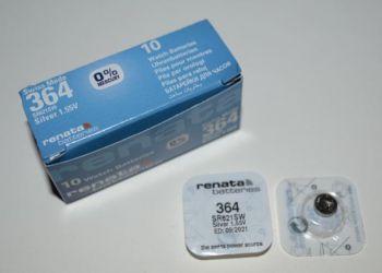 Часовая батарейка Renata 364 (SR-621SW, SR-60) AG1 1х1шт /1/10шт.