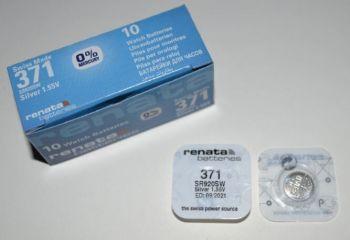 Часовая батарейка Renata 371 (SR-920SW, SR-69) AG6 1х1шт /1/10/100шт.