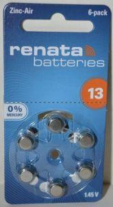 Батарейка Renata ZA13 (PR48) для слуховых аппаратов /6/60/300шт.