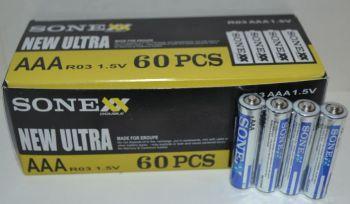 Батарейка SONEX R-03 (ААА) коробка 1х4шт /4/60шт.