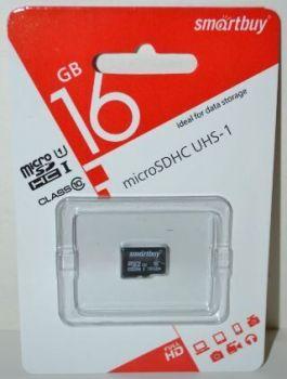 Карта памяти micro-SD 16Gb Smartbuy (Class 10)