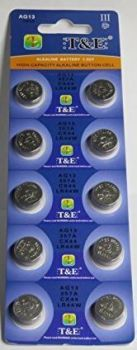 Часовая батарейка T&E AG13 (LR44) блистер 1х10шт /10/200/