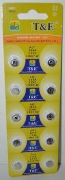 Часовая батарейка T&E AG1 (LR621) блистер 1х10шт /10/200шт.