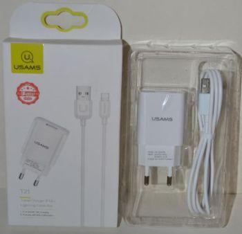 Зарядное устройство для телефонов USAMS US-CC075 (T-21) на 1USB 2,1A + кабель Lightning white