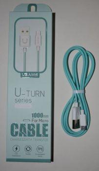 Кабель USAMS USB на microUSB US-SJ098 2,1A 1м бирюзовый