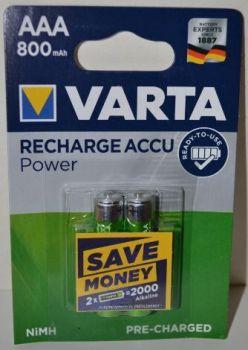 Аккумуляторы VARTA НR-03 800mAh Ni-Mh блистер 1х2шт /2/20шт.