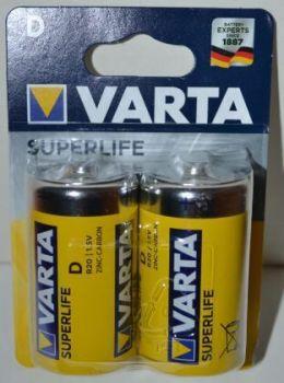 Батарейки VARTA Superlife R-20 блистер 1х2шт /2/24шт.