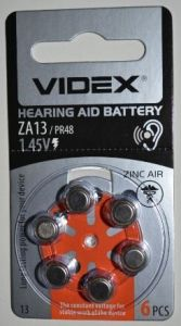 Часовая батарейка Videx ZA13 (PR48) блистер 1х6шт (д/слух.апар) /6/
