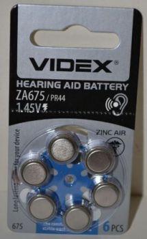 Батарейка Videx ZA675 (PR44) для слуховых аппаратов /6/60шт.