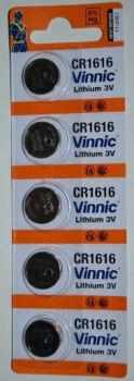 Батарейка Vinnic CR-1616 Lithium 1х5шт /1/5/100шт.
