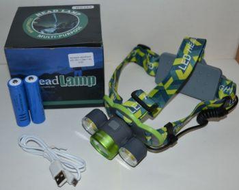 Фонарик налобный WD-382 + 2 аккумулятора + зарядное устройство