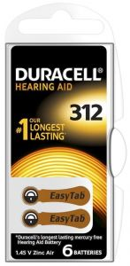 Батарейка Duracell ZA312 (PR41) для слуховых аппаратов /6/60шт.