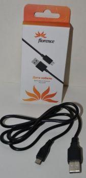 Кабель Florence USB на microUSB 1м