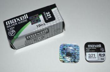 Часовая батарейка Maxell 321 (SR-616SW, SR-65) AG1 1х1шт /1/10/