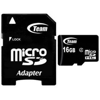 Карта памяти micro-SD 16Gb TEAM (Class 4) + SD адаптер