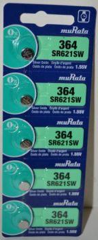 Часовая батарейка muRata 364 (SR-621SW, SR-60) AG1 блистер 1х5шт /1/5/100шт.