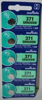 Часовая батарейка muRata 371 (SR-920SW, SR-69) AG6 1х5шт /1/5/100шт.