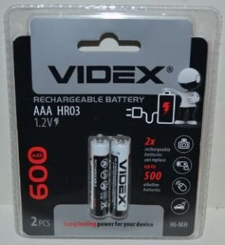 Аккумуляторы Videx НR-03 600mAh Ni-MH блистер 1х2шт /2/20/